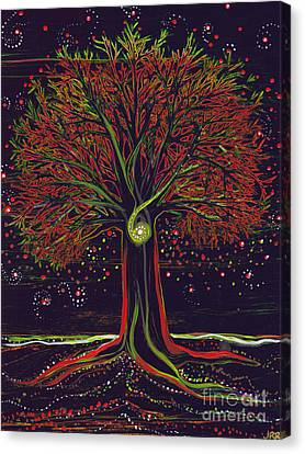 Mystic Spiral Tree Red By Jrr Canvas Print by First Star Art