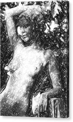 Naked Woman Canvas Print by Toppart Sweden