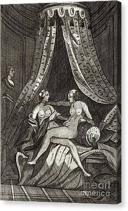 Naked Women, 17th Century Artwork Canvas Print by British Library