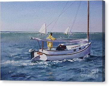Nantucket Sound Catboat Canvas Print by Karol Wyckoff