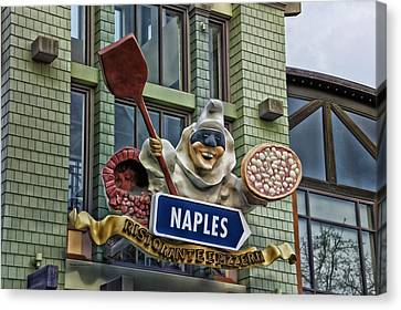 Naples Pizzeria Signage Downtown Disneyland Canvas Print by Thomas Woolworth