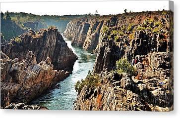 Narmada River Gorge At Jabalpur India Canvas Print by Kim Bemis