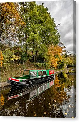 Narrow Boat Canvas Print by Adrian Evans