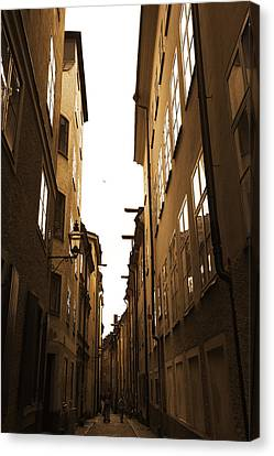 Narrow Medieval Street - Monochrome Canvas Print by Ulrich Kunst And Bettina Scheidulin