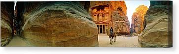 Narrow Passageway At Al Khazneh, Petra Canvas Print by Panoramic Images