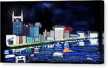 Nashville At Night Canvas Print by Maura Satchell