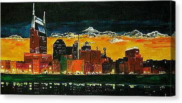 Nashville Night Canvas Print by Vickie Warner