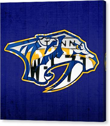Nashville Predators Hockey Team Retro Logo Vintage Recycled Tennessee License Plate Art Canvas Print by Design Turnpike