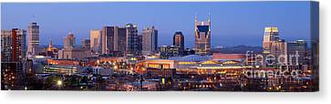 Nashville Skyline At Dusk Panorama Color Canvas Print by Jon Holiday