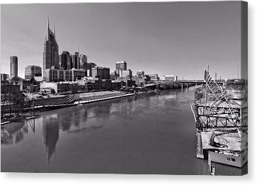 Nashville Skyline In Black And White At Day Canvas Print by Dan Sproul