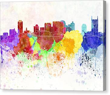 Nashville Skyline In Watercolor Background Canvas Print by Pablo Romero