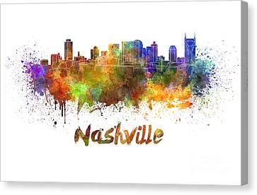 Nashville Skyline In Watercolor Canvas Print by Pablo Romero