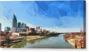 Nashville Skyline Panorama Canvas Print by Dan Sproul