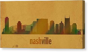 Nashville Tennessee Skyline Watercolor On Parchment Canvas Print by Design Turnpike
