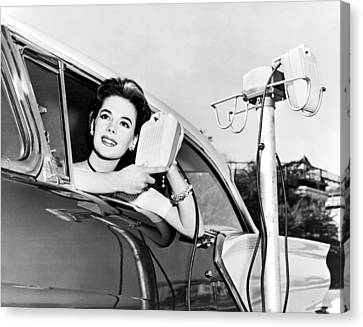Natalie Wood At A Drive-in Canvas Print by Underwood Archives