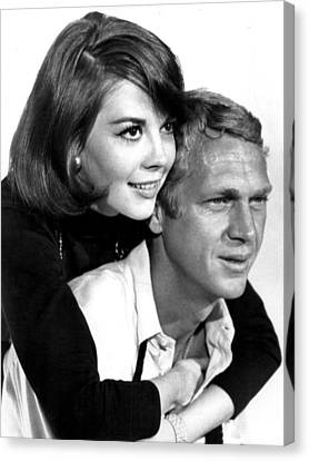 Natalie Wood With Steve Mcqueen Canvas Print by Retro Images Archive