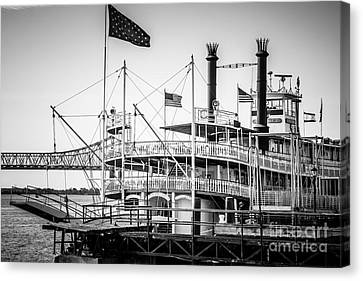 Natchez Steamboat In New Orleans Black And White Picture Canvas Print by Paul Velgos