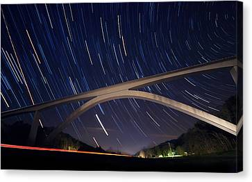 Natchez Trace Bridge At Night Canvas Print by Malcolm MacGregor