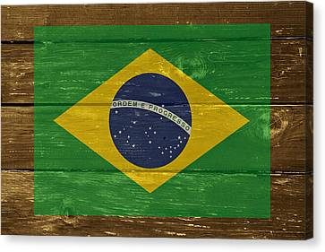 Brazil National Flag On Wood Canvas Print by Movie Poster Prints