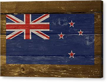 New Zealand National Flag On Wood Canvas Print by Movie Poster Prints
