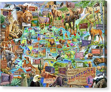 National Parks Of America Canvas Print by Adrian Chesterman