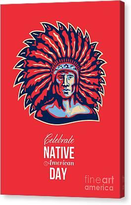 Native American Day Celebration Retro Poster Card Canvas Print by Aloysius Patrimonio