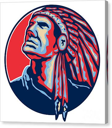 Native American Indian Chief Retro Canvas Print by Aloysius Patrimonio