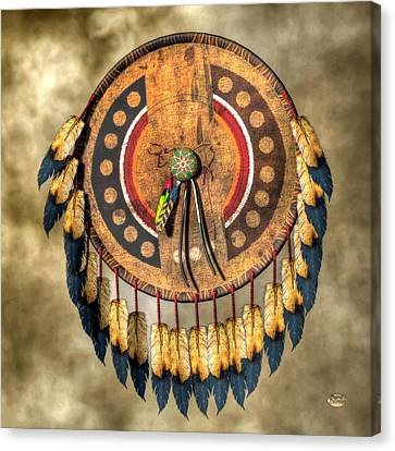 Native American Shield Canvas Print by Daniel Eskridge