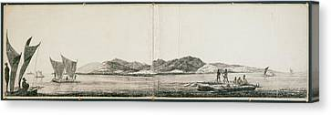 Native Tribal Peoples In Boats And Canoes Canvas Print by British Library