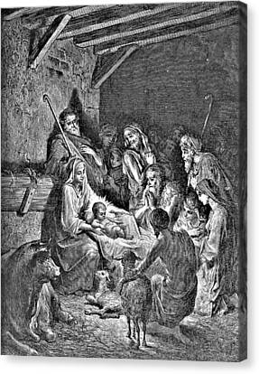 Nativity Bible Illustration Engraving Canvas Print by