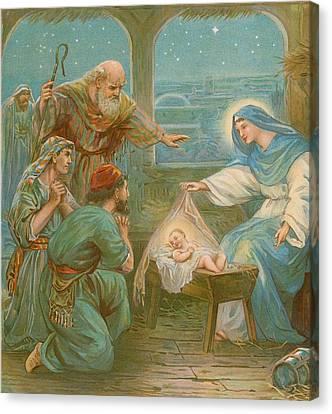 Nativity Scene Canvas Print by English School