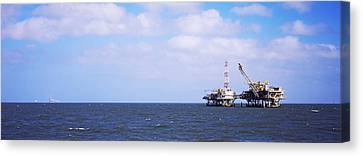 Natural Gas Drilling Platform In Mobile Canvas Print by Panoramic Images