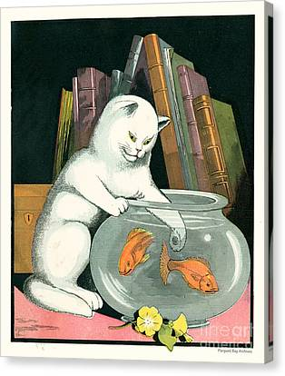 Naughty Cat Fishes For Goldfish In Fish Bowl Canvas Print by Pierpont Bay Archives