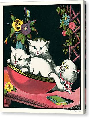 Naughty Cats Play In Antique Pink Bowl With Book And Sweet Williams Flowers Canvas Print by Pierpont Bay Archives
