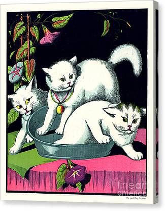 Naughty Cats Play In Tub On Table With Morning Glories Canvas Print by Pierpont Bay Archives
