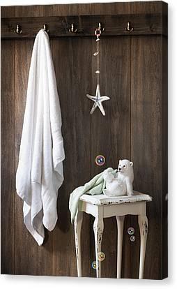 Nautical Bathroom Canvas Print by Amanda Elwell