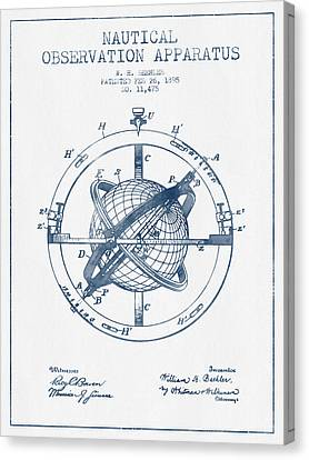Nautical Observation Apparatus Patent From 1895  -  Blue Ink Canvas Print by Aged Pixel