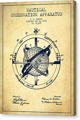 Nautical Observation Apparatus Patent From 1895 - Vintage Canvas Print by Aged Pixel
