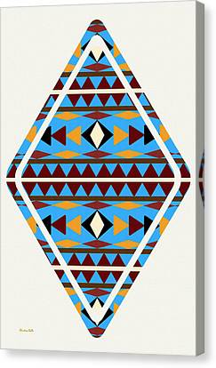 Navajo Blue Pattern Art Canvas Print by Christina Rollo