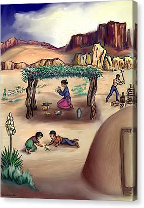 Navajo Family - Age 11 Canvas Print by Dawn Senior-Trask