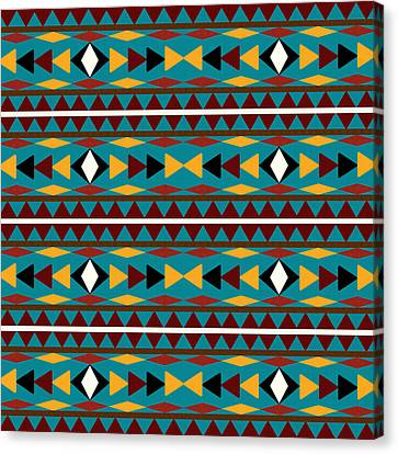 Navajo Teal Pattern Canvas Print by Christina Rollo