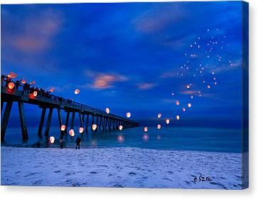 Navarre Beach Fishing Pier - Night Landscape Canvas Print by Eszra Tanner