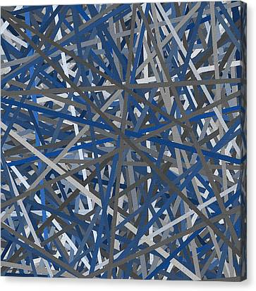 Navy Blue And Gray Art Canvas Print by Lourry Legarde