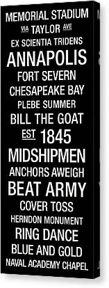 Navy College Town Wall Art Canvas Print by Replay Photos