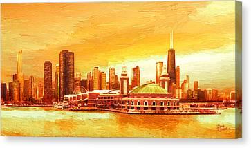 Navy Pier Chicago --autumn Canvas Print by Doug Kreuger