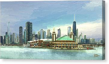 Navy Pier Chicago --winter Canvas Print by Doug Kreuger