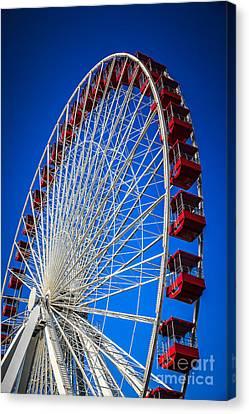 Navy Pier Ferris Wheel In Chicago Canvas Print by Paul Velgos