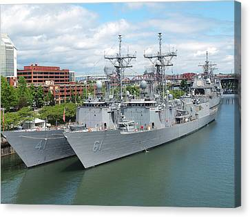 Navy Ships Docked For The Portland Rose Festival. Canvas Print by Gino Rigucci