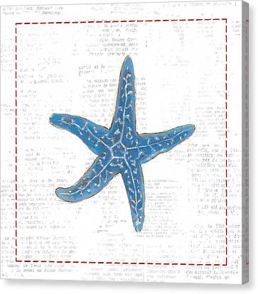 Navy Starfish On Newsprint With Red Canvas Print by Emily Adams