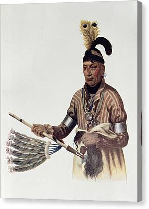 Naw-kaw Or Wood, A Winnebago Chief, Illustration From The Indian Tribes Of North America, Vol.1 Canvas Print by Charles Bird King